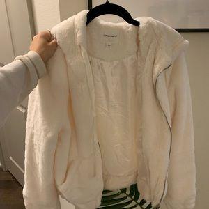 White faux fur zip up hoodie!